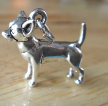 3D Solid 18x15mm Chihuahua Dog Sterling Silver Charm