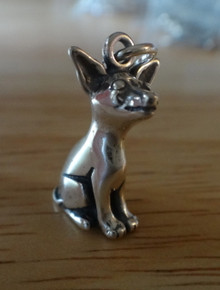 3D 19x10mm Chihuahua Dog Sterling Silver Charm