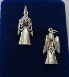 3D 21x10mm Angel with Song Choir Book Sterling Silver Charm