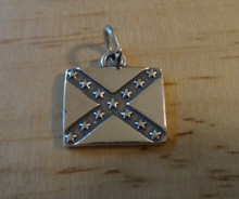 16x15mm Heavy Dixie Rebel Confederate Flag Sterling Silver Charm