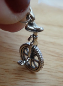 3D 13x25mm Unicycle Bicycle Bike Sterling Silver Charm