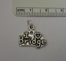 I Love (heart) Bridge - Cards Sterling Silver Charm
