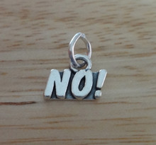 9x12mm says No! Sterling Silver Charm