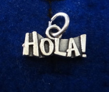 15x8mm says Hola! / Hello in Spanish Sterling Silver Charm