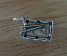 3D 18x11mm Billiard Pool Table with Pool Sticks & ball Sterling Silver Charm