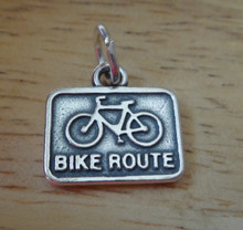 14x13mm Bicycle Bike Route Sign Sterling Silver Charm