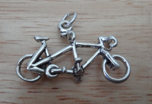 25x15mm 3D Tandem Bicycle Bike Sterling Silver Charm