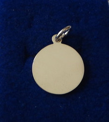 Engravable 15 mm Round Disk Sterling Silver Charm