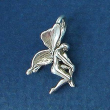3D 10x17mm Small Fairy Sterling Silver Charm