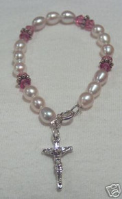 Sterling Silver Pearl Bracelet with Cross/Crucifix Charm!