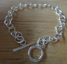 """sizes 6"""" to 10"""" Medium Heavy Oval Link Toggle Clasp Sterling Silver Charm Bracelet"""