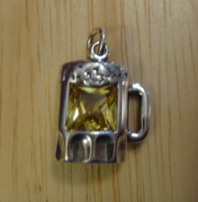 Beer Mug Glass with a Yellow CZ Sterling Silver Charm