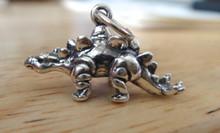 22x13mm solid 3D Stegosaurus Dinosaur Sterling Silver Charm
