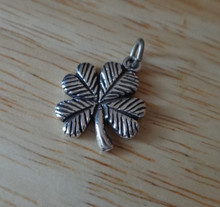 Fancy 4 Four Leaf Clover St Patrick's Sterling Silver Charm