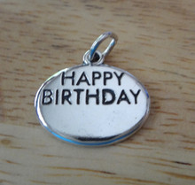 Oval Engraveable Happy Birthday Sterling Silver Charm
