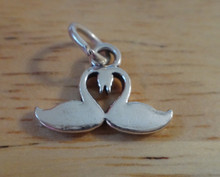 16x12mm Two Swans making a Heart Wedding Sterling Silver Charm