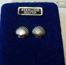 Tiny 9x9mm Shell Beach Sterling Silver Stud Earrings