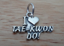 15x15mm Martial Arts I Love Tae Kwon Do Sterling Silver Charm
