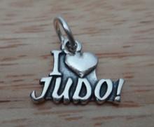 16x13mm Martial Arts I Love Judo w/ Heart Sterling Silver Charm