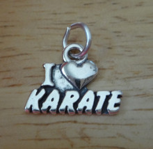 17x13mm Martial Arts I Love Karate Heart Sterling Silver Charm