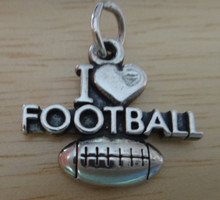 17x20mm I Love Football With Heart Sterling Silver Charm