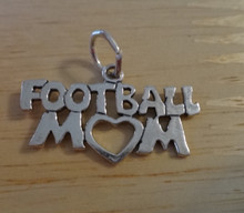 27x15mm Football Mom With Heart Sterling Silver Charm