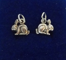 11x10mm 3D Small Long Earred Rabbit Bunny Sterling Silver Charm