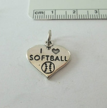 18x18mm I Love Softball & Ball in a Heart Sterling Silver Charm