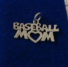 Baseball Mom w/ Heart Sterling Silver Charm