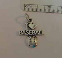I Love Baseball with Heart Ball Sterling Silver Charm