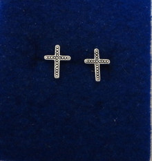 TINY 9x7mm Cross Stud with Dots Sterling Silver Earrings