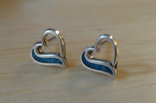 Tiny 8x8mm Heart with Blue Stone on side Sterling Silver Stud Earrings