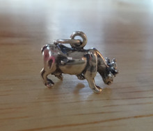 Grazing Heifer Cow Sterling Silver Charm