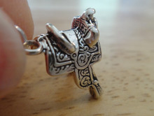 3D 15x18mm Western Saddle Tack Sterling Silver Charm