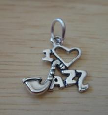 17x19mm I Love (Heart & Sax) Jazz Music Sterling Silver Charm
