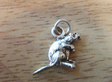 18x14mm Beaver with Flat Tail Sterling Silver Charm