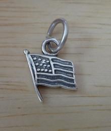 11x10mm Tiny United States Flag Patriotic ROTC Sterling Silver Charm