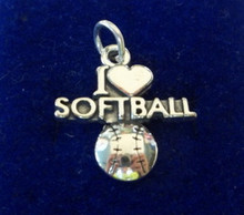 21x20mm I Love Softball with Heart Ball Sterling Silver Charm