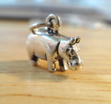 3D 14x10mm solid Hippopotamus Hippo Sterling Silver Charm