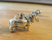 3D 20x13mm solid heavy Hippopotamus Hippo Sterling Silver Charm