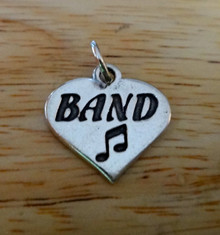 18x18mm Band Heart Sterling Silver Charm with Music Notes