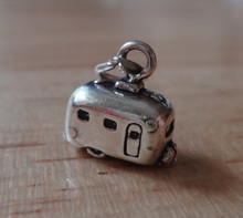 3D 13x12mm Camping Travel Canned Ham Trailer RV Sterling Silver Charm