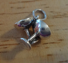Double Wedding Champagne Glasses Sterling Silver Charm