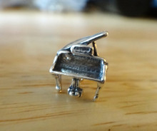 3D 13x10mm Piano Musical Instrument Sterling Silver Charm