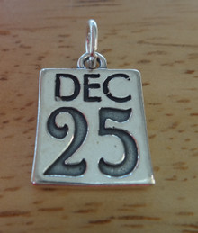 15x20mm December 25th Holiday Christmas Sterling Silver Charm