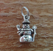 Tiny 10x13mm Snowman Holiday Christmas Sterling Silver Charm