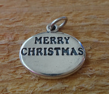 20x17mm Engraveable says Merry Christmas Oval Sterling Silver Charm