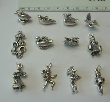 Large 12 Days of Christmas Sterling Silver Charms