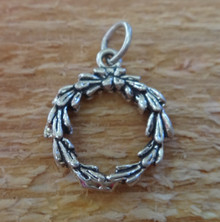 15mm Wreath Holiday Christmas Sterling Silver Charm