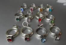 10x18mm Birthstone Ring Sterling Silver Charms